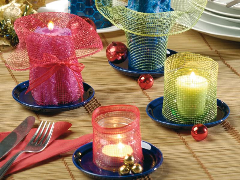 Candele decorate per segnaposto tavola