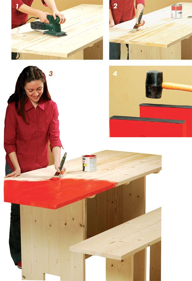 finitura tavolo di legno