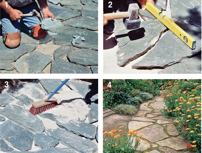 Pavimentazione fai da te con beole guida alla posa - Camminamento pietra giardino ...