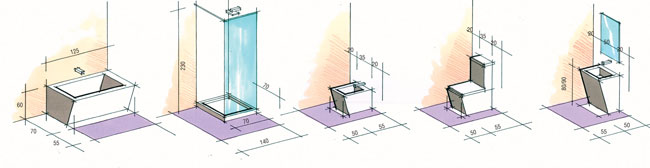 impianto idraulico bagno, impianto idrico bagno, schema