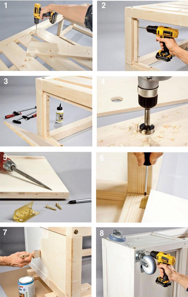 Divano fai da te con ruote piroettanti progetto completo passo passo - Costruire mobili in legno fai da te ...