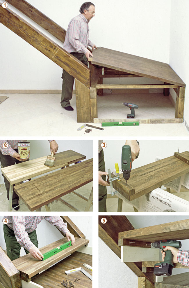 Scala in legno fai da te bricoportale fai da te e bricolage for Bancone in legno fai da te