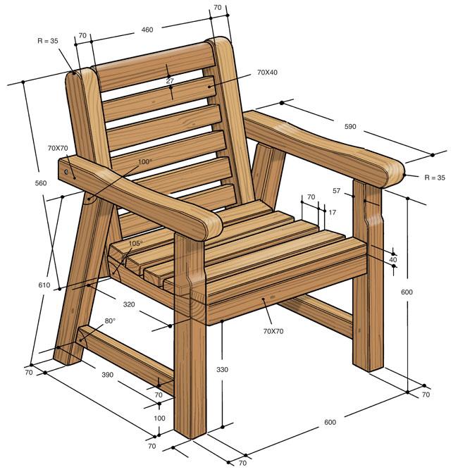 Arredo giardino fai da te  Come costruire una panca e sedia in legno