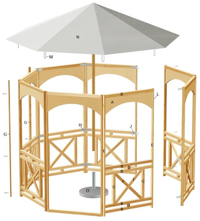 Come costruire un gazebo in legno 3x3 for Gazebo in legno usato