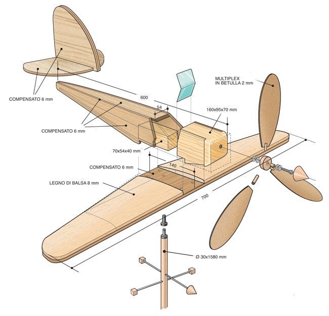 aereo in legno progetto