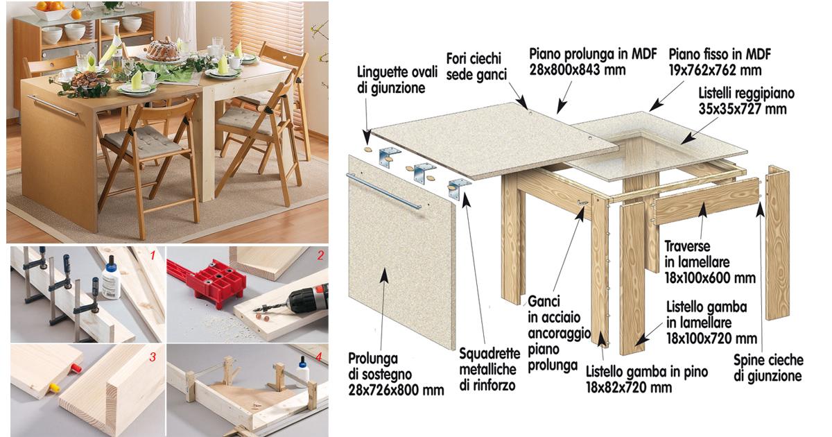 Come costruire un tavolo estensibile bricoportale fai for Costruire un tavolo pieghevole