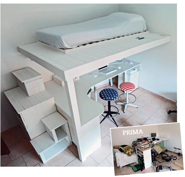 Soppalco fai da te in legno con scrivania annessa for Ikea letto ribaltabile