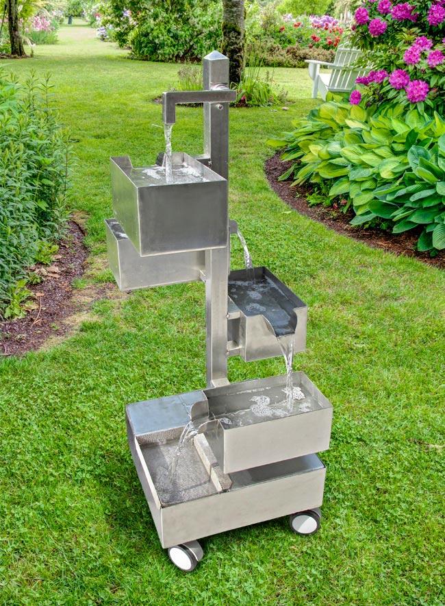 Fontana zen fai da te in acciaio inox per giardino for Come costruire una cabina di pietra