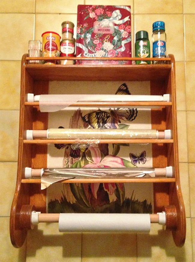 Portarotoli fai da te da parete per la cucina - Cucine fai da te in legno ...