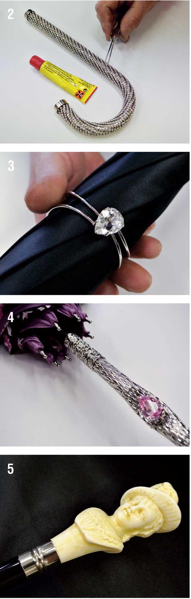 manico d'ombrello con gioielli