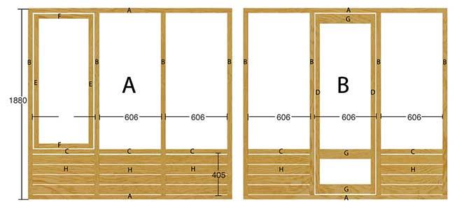 telaio in legno per serra