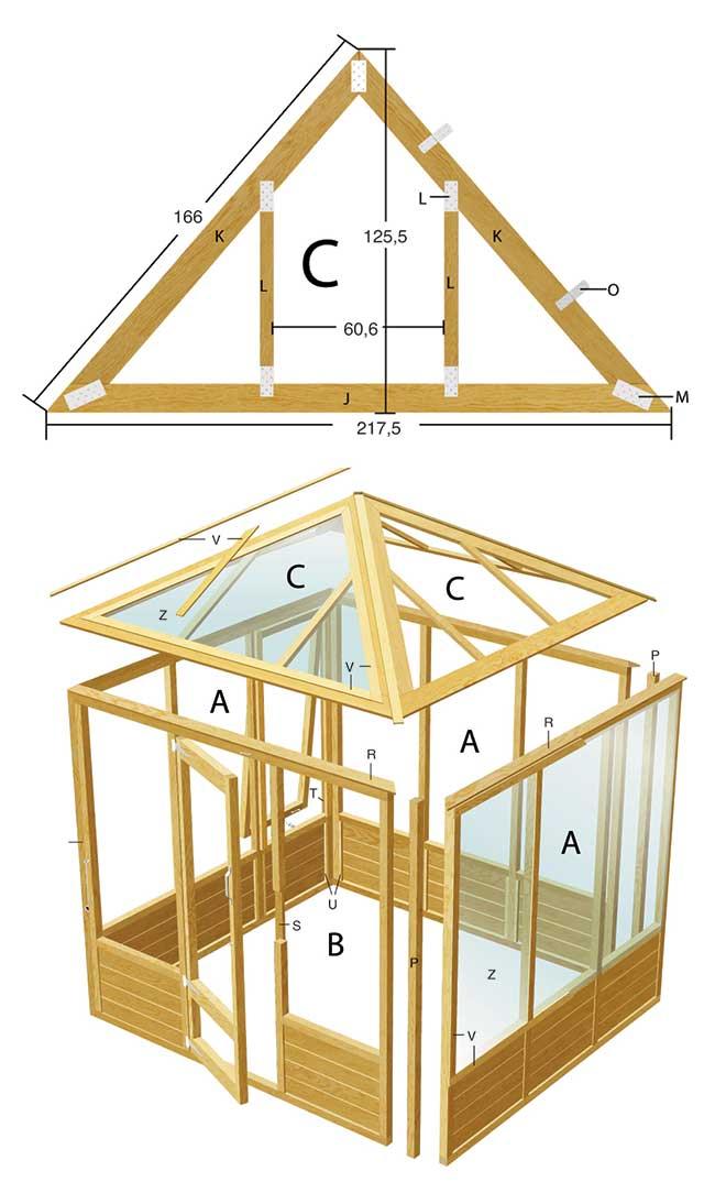 progetto di una serra fai da te in legno