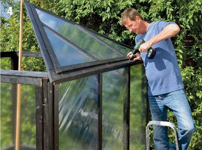 fissaggio telaio tetto a telaio serra