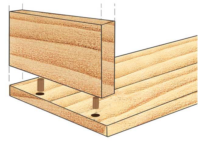 unione con spine di legno