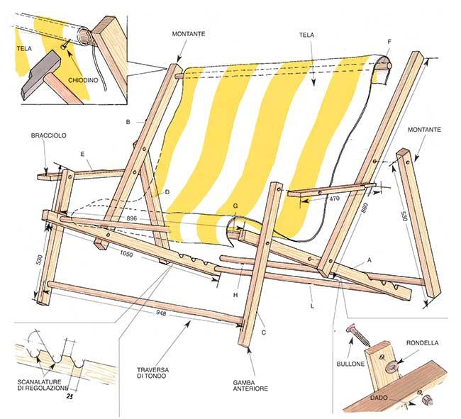 Costruire Una Sedia A Sdraio.Sdraio In Legno Fai Da Te Progetto Completo Bricoportale Fai Da