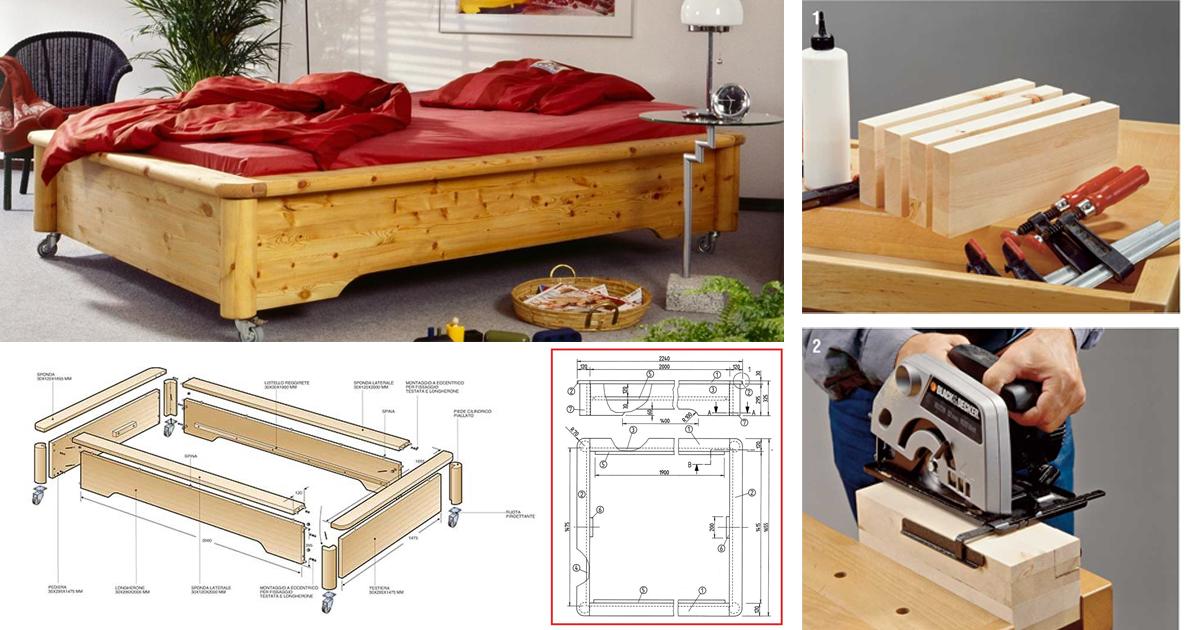 Letto con rotelle fai da te | Come costruirlo con solido legno ...