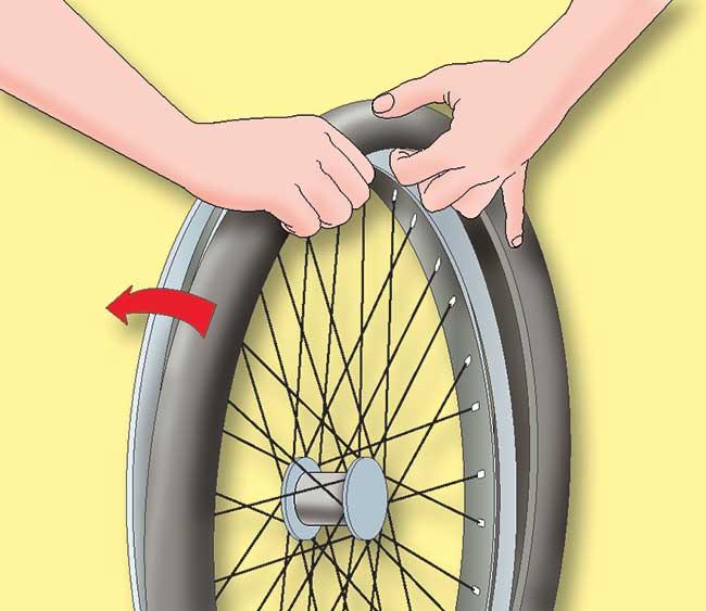 infila camera d'aria bicicletta