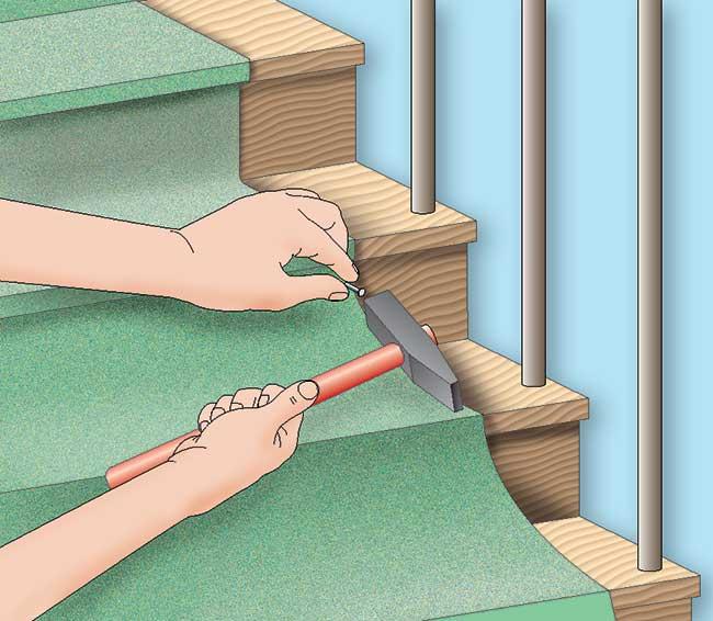 fissaggio moquette per scale