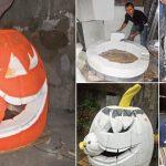 Zucca Halloween fai da te con polistirolo
