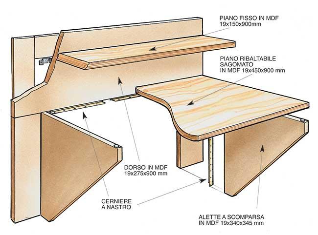 Come costruire una scrivania a scomparsa in legno - Bricoportale.it