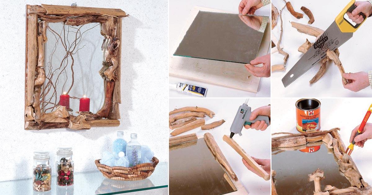 Cornice di legno fai da te con rami