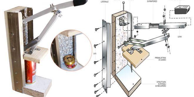 Schiaccia lattine fai da te come costruire una piccola for Costruire pressa idraulica