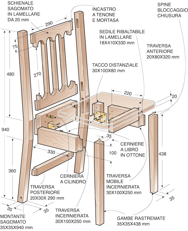 sedia pieghevole progetto