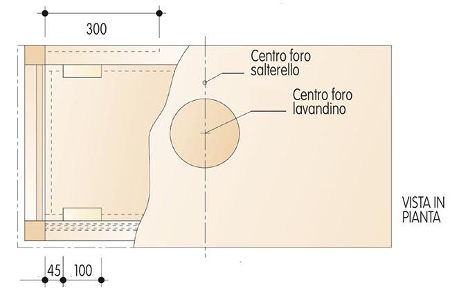 vista in pianta del mobile lavabo