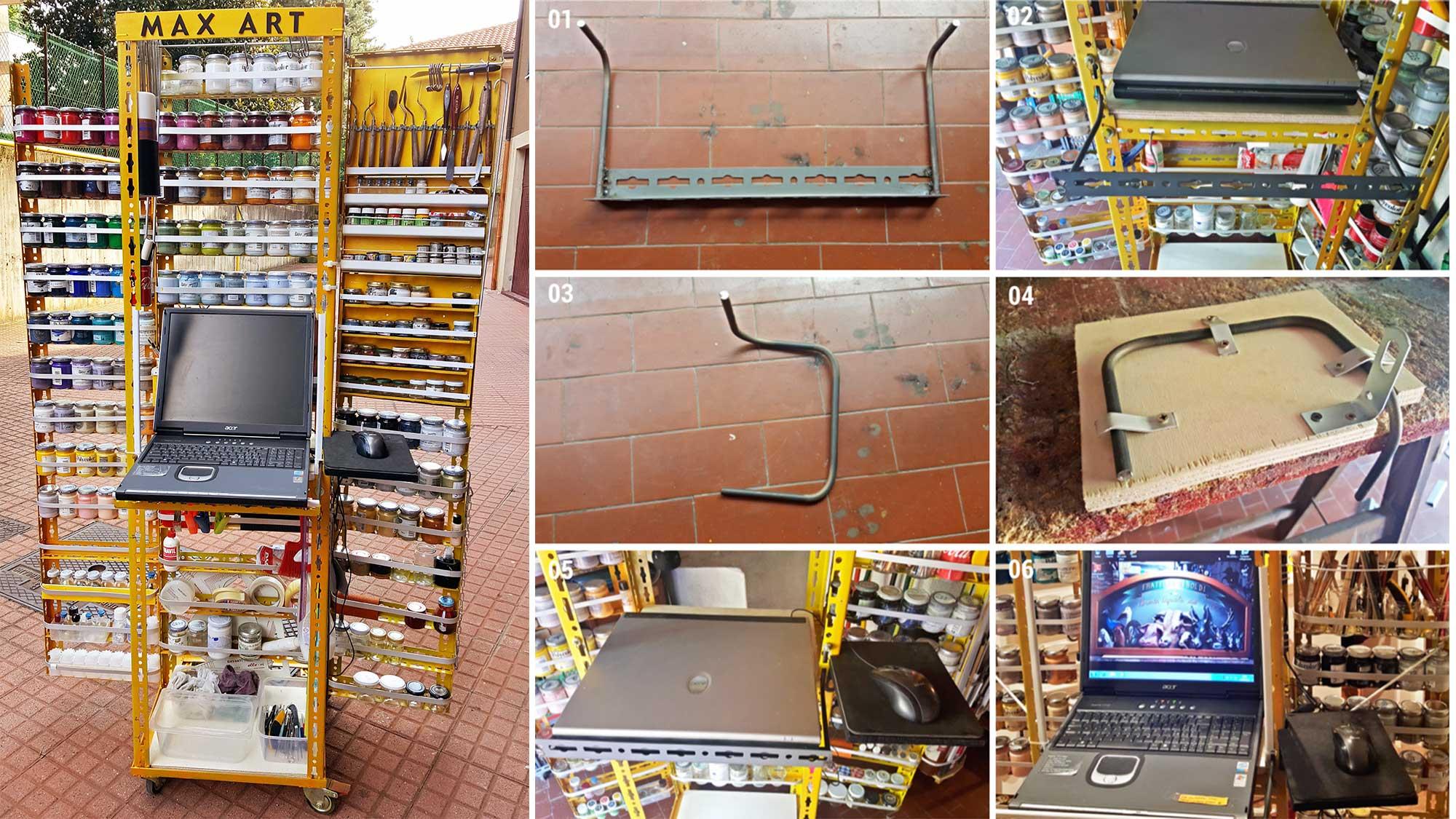 Scaffale in metallo con PC per dipinti a rilievo | Costruzione fai da te