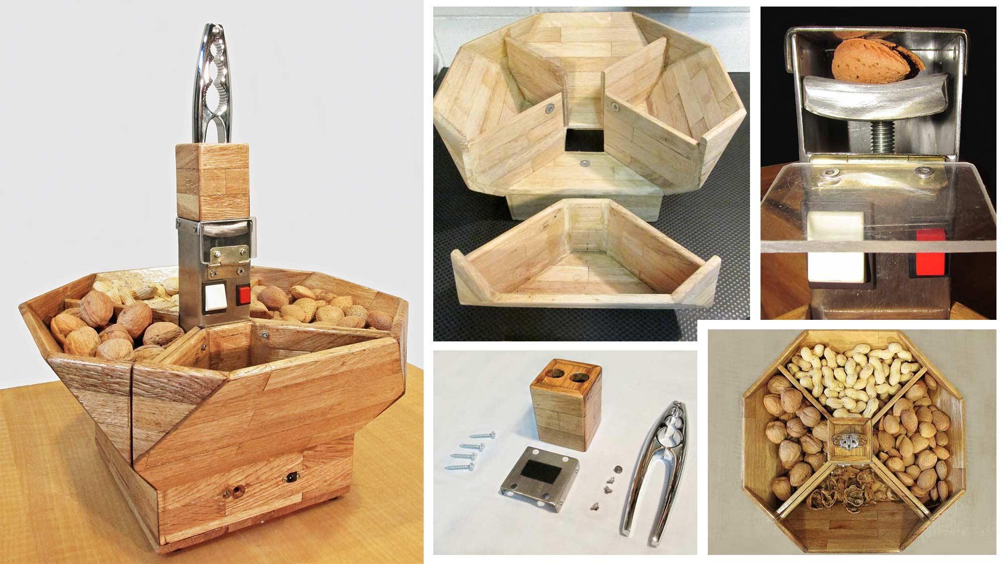 Schiaccianoci in legno e acciaio fai da te | Motorizzato a batteria