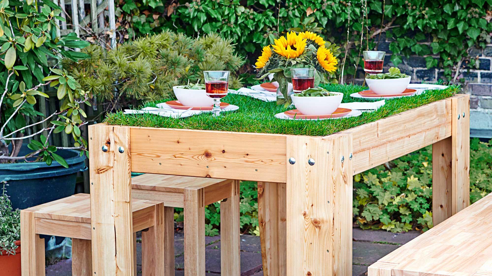 Tavolo pic nic in legno con top in erba | Costruzione fai da te