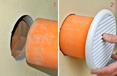 Presa d 39 aria nel muro con sega a tazza contro l 39 umidit - Presa d aria cucina ...