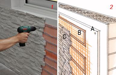 Riscaldamento a parete rivestito di pietra bricoportale - Rivestire muro esterno ...