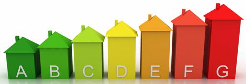"""Una rappresentazione intuitiva per capire il significato delle classi energetiche: la dimensione di ogni casa esprime il fabbisogno energetico, con i colori che virano dalla tonalità fredda del """"verde ecologico"""" a quella calda """"rosso infernale"""" tipico delle dispersioni termiche"""