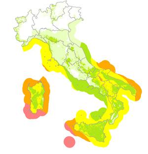 Le aree rosse e arancio sono le più battute dai venti.