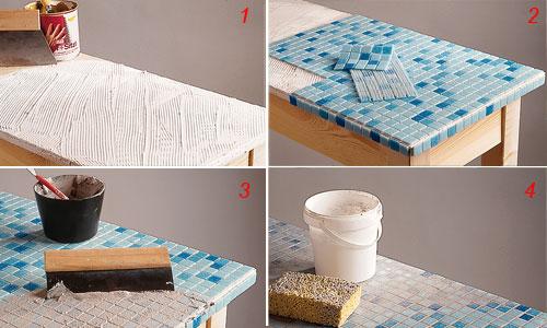 Tavolo con rivestimento a mosaico bricoportale fai da te e bricolage - Carta adesiva rivestimento mobili ...