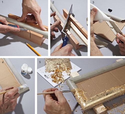 Cornice decorativa con cartone e foglia oro bricoportale for Cornici quadri fai da te