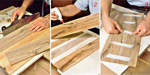 collegamento tavole di legno per intarsio
