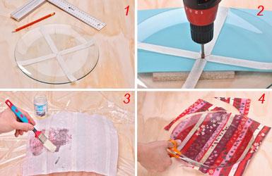 Foratura e applicazione della stoffa all'orologio in stoffa e vetro