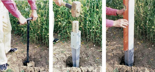 piantare picchetti nel terreno