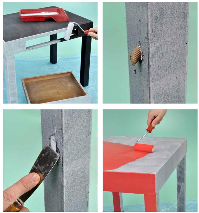 Ricolorare il tavolino restaurato