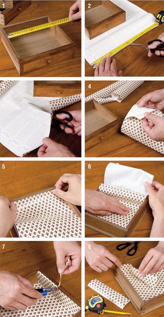 Foderare cassetti bricoportale fai da te e bricolage - Carta adesiva rivestimento mobili ...