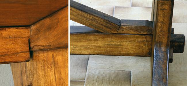 A sinistra incastro  a mezzo legno della trave superiore. A destra incastro della trave inferiore con cuneo di bloccaggio.