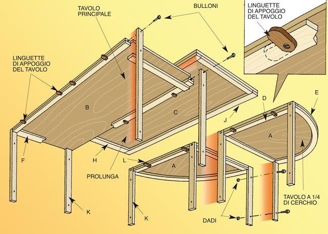 tavolo componibile disegno