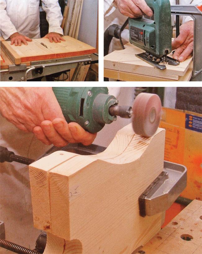 taglio del legno per realizzare sgabello