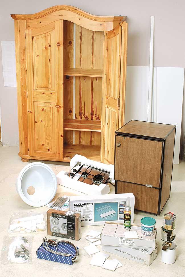 Cucina nascosta in un armadio costruzione fai da te for Cucina giocattolo fai da te