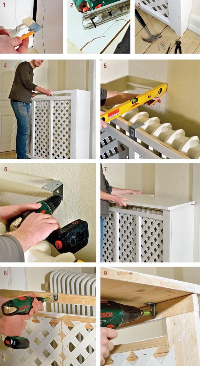 installazione copriradiatore a muro