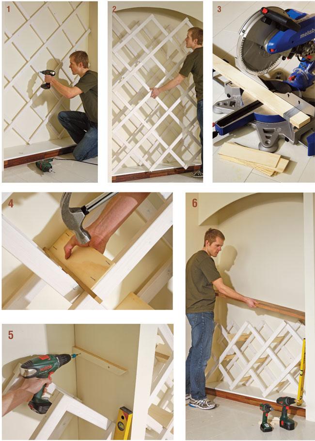 Costruire un portabottiglie da parete bricoportale fai da te e bricolage - Parete in legno fai da te ...