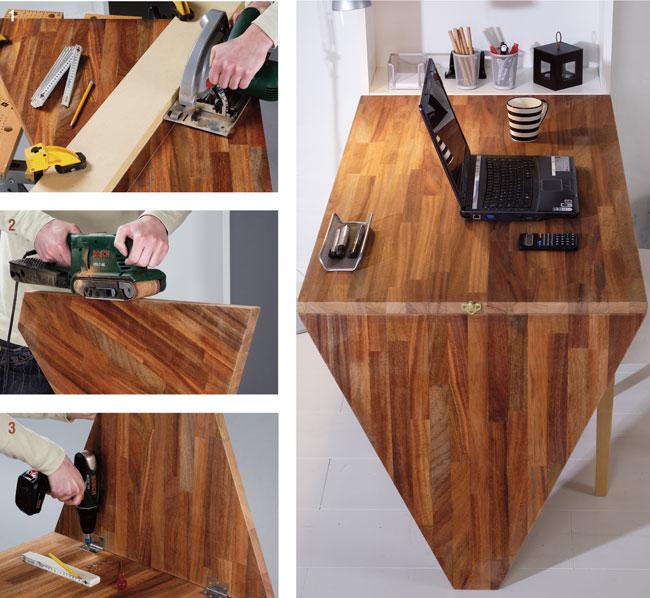 scrivania da parete, costruire una scrivania, scrivania da muro