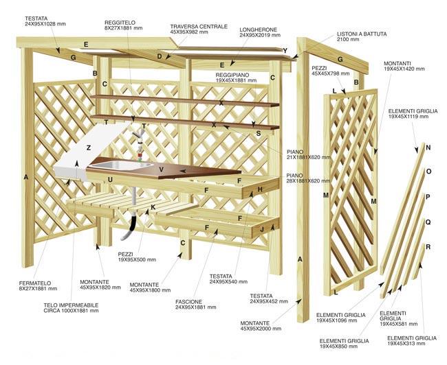 disegno cucina in legno